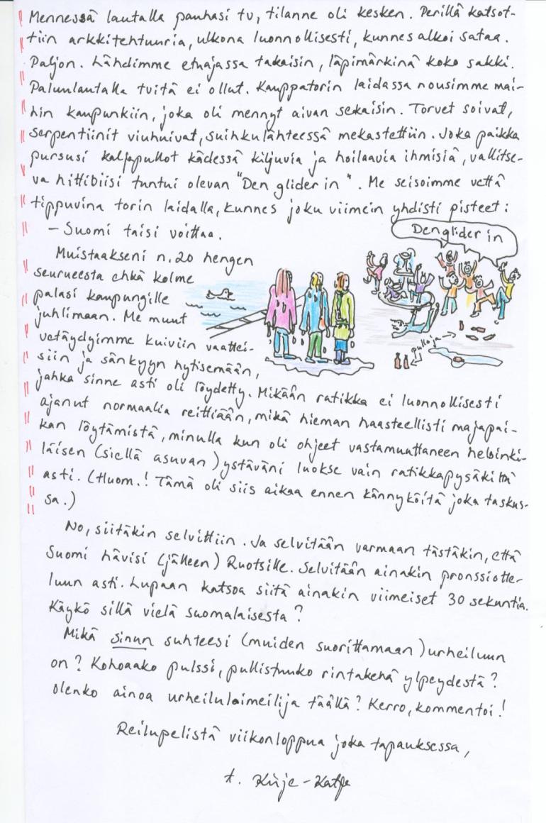 Kirje 21.2.2014 sivu 2, jossa kerron urheilumuiston Suomen jääkiekon MM-mestaruudesta vuodelta 1995