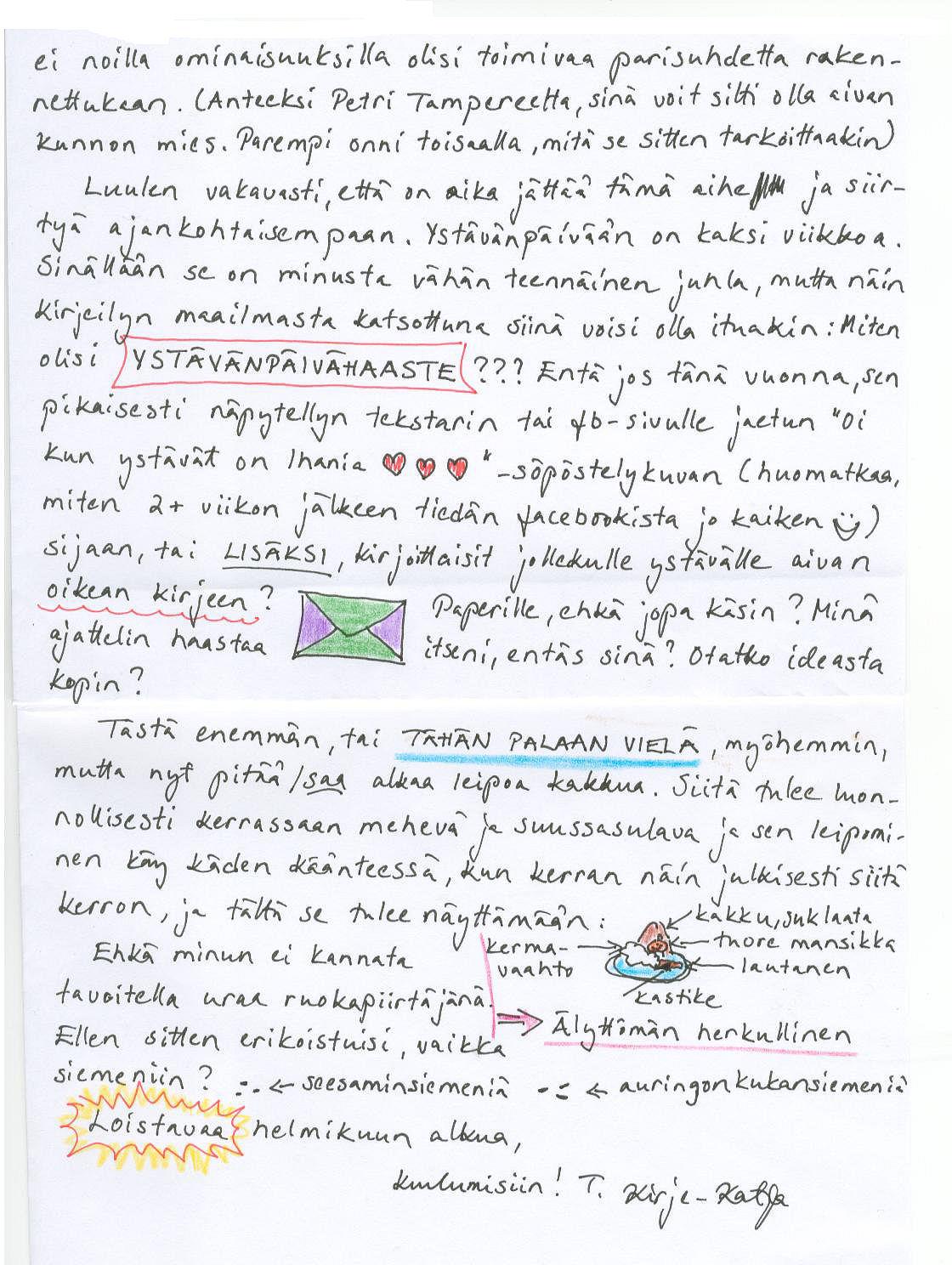Kirje Ystävälle