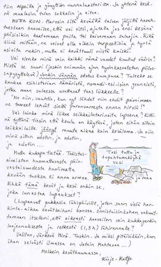 Kirjee15.3.2014 sivu 2, jolla pohdin, mistä jonkin jännittävän odotus oikein on peräisin