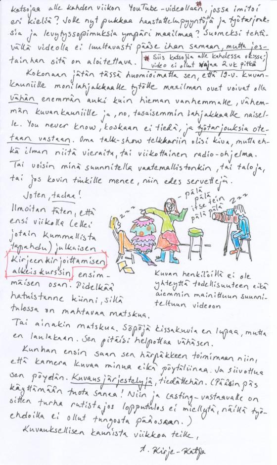 Kirje 23.3.2014 toinen sivu, jossa vertailen 19-vuotiaiden kauniiden tyttöjen ja vähän vanhempien naisten mahdollisuuksia sekä kerron ottavani työtarjouksia vastaan