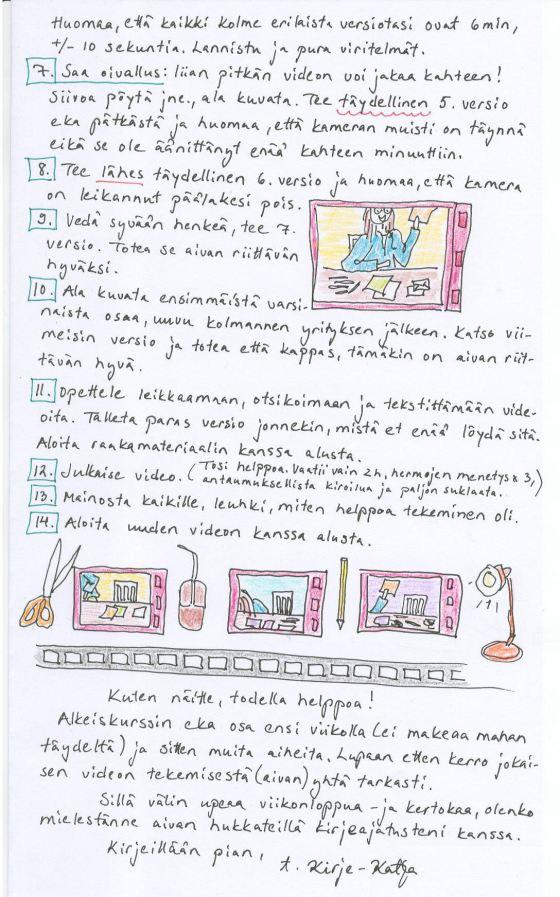 Kirje 28.3.2014 Sivu3, jossa  kerron 14 kohdan Miten tehdä video -ohjelmani lopun