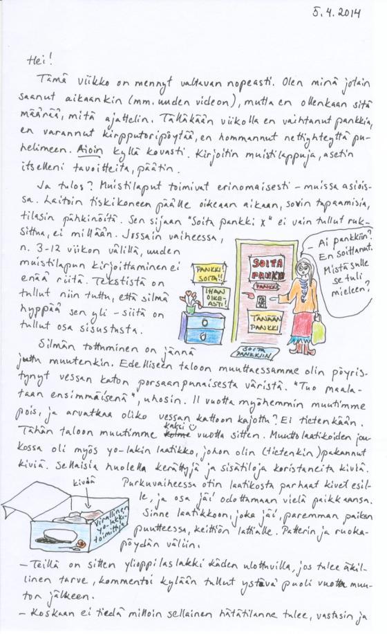 Kirje 4.5.2014 Sivu1, jossa pohdin aikomisen, muistilappujen ja silmän tottumisen suhdetta