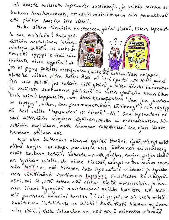 Kirje 21.4.2014, jossa pohdin miten lapsuutta on lupa muistella
