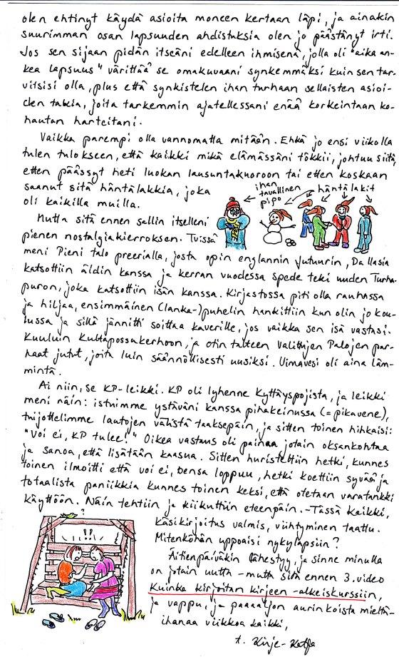 Kirje 21.4.2014 Sivu 2, jolla hieman nostalgisoin lapsuutta, kerron KP-leikistä ja lupaan jotain uutta äitienpäiväksi