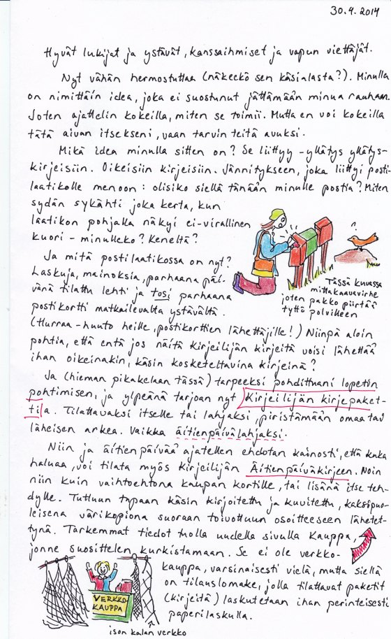 Kirje 30.4.2014 Sivu 2, jossa kerron blogin jatkavan edelleen samaan malliin, että osoite on muuttunut mutta vanhallakin vielä löytää perille, ja toivotan hyvää vappua