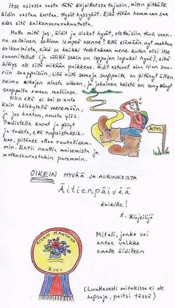 Kirje 10.5.2014 Sivu 2, jossa kehotan lempeään sallivuuteen äitiyden suurissa saappaissa harppoessa