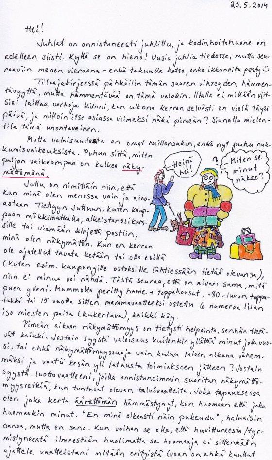 Kirje 29.5.2014 Sivu 1, jossa pohdin valoisuuden aiheuttamia ongelmia näkymättömyydelle