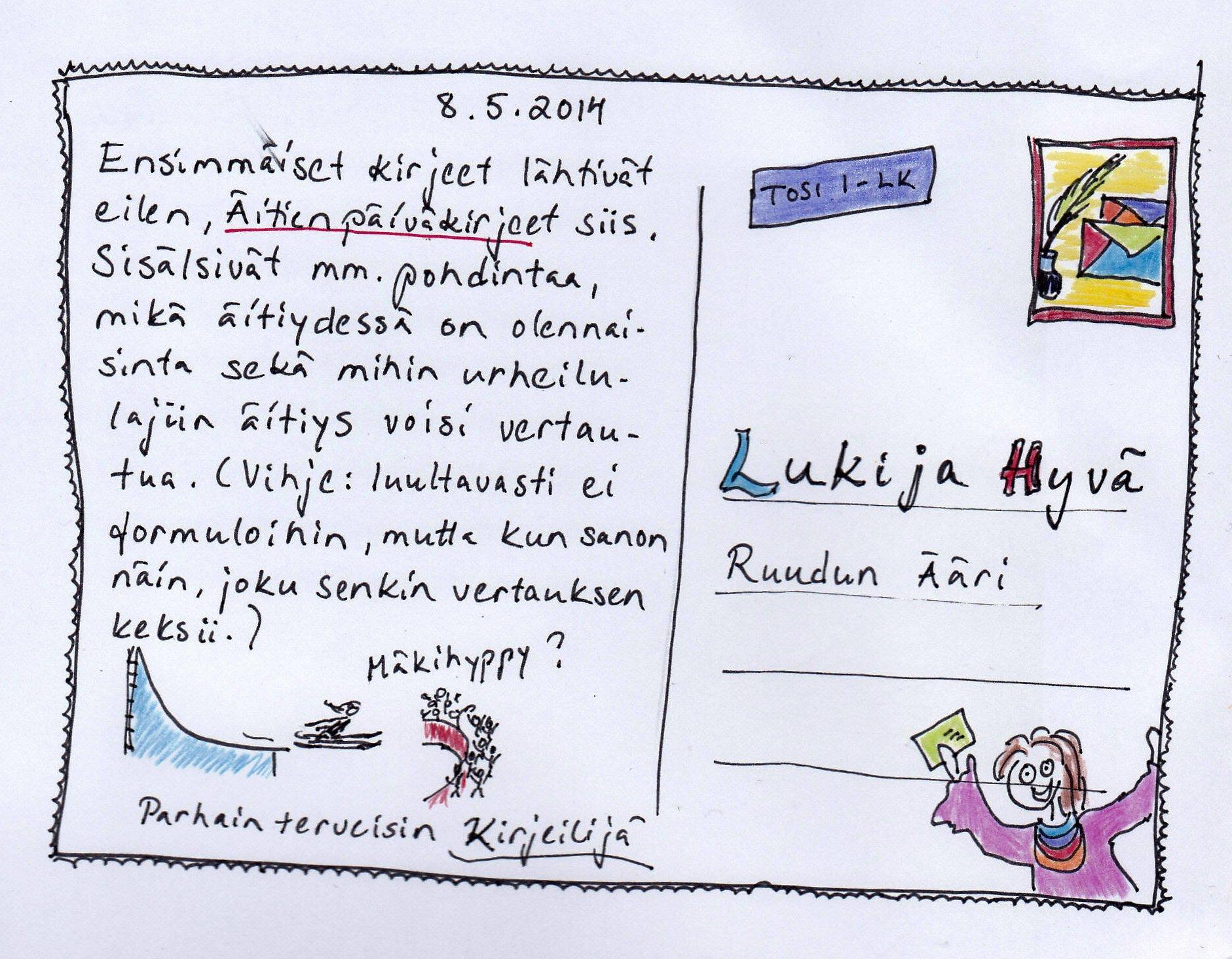 Postikortti Äitienpäiväkirjeestä eli Kurkistus kirjeeseen Ruudun TuollaPuolen