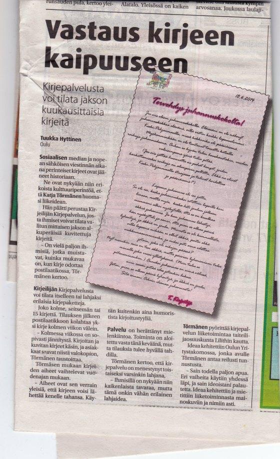 Artikkeli, jonka Oulu-lehti julkaisi Kirjeilijän kirjepalvelusta