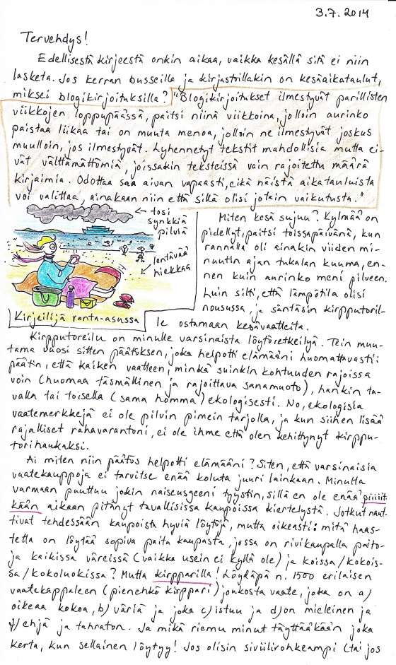 Kirje 7.3.2014 Sivu1, jossa on mm. kuva Kirjeilijästä ranta-asussa ja jossa pohdin blogikirjoitusten kesäaikatauluja sekä kirpputorilla käymisen hyviä puolia