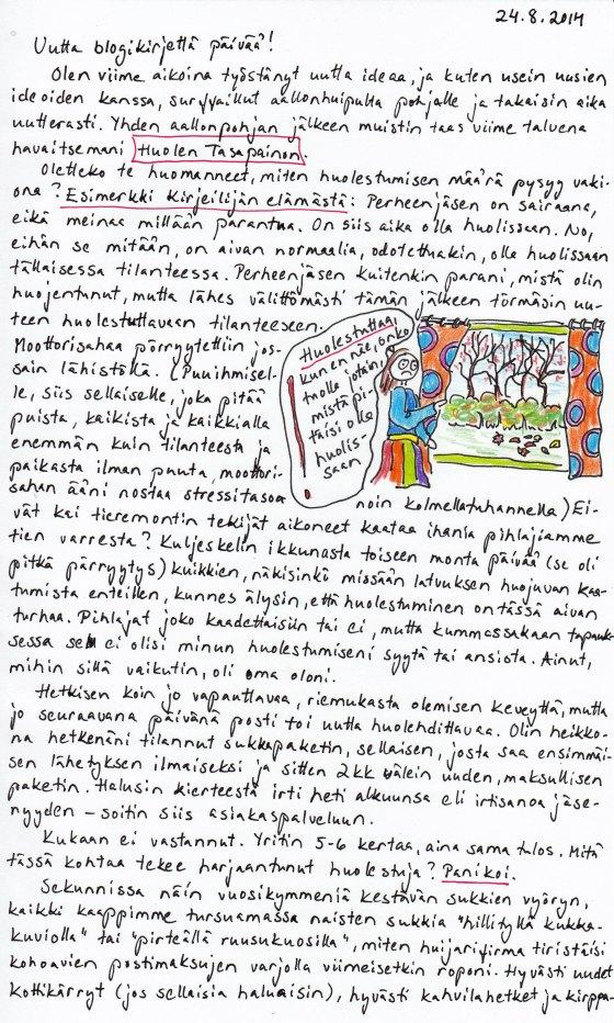 Kirje 24.8.2014 Sivu 1, jossa kerron Huolen Tasapainosta ja miten sen löysin