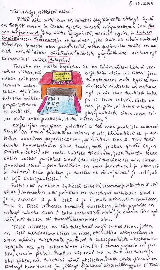 Kirje 5.10.2014 Sivu 1, jossa Kirjeilijä kertoo, miten käy, jos haluaa tulostaa 10 sivua tekstiä kaksipuoleisina printterillä, joka ei tee kaksipuoleisia