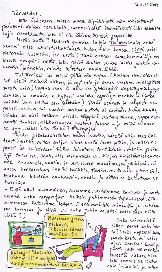 Kirje 23.11.2014 Sivu 1, jossa pohdin mm. luomisen hitauden ja kuluttamisen nopeuden epäsuhtaa