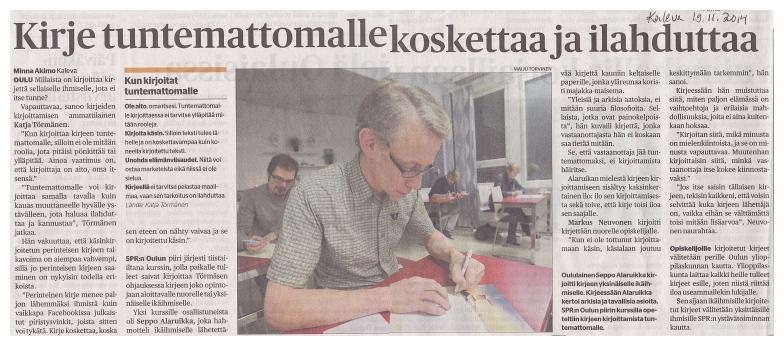 Kirjeen kirjoittamisen ilta -juttu Kalevassa 19.11.2014