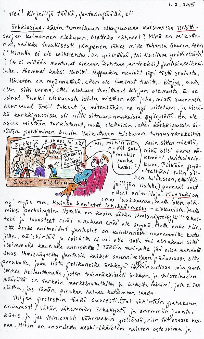 Kirje 1.2.2015, jossa aiheena örkit ja pohdintaa siitä, mikä tekee hyvän fantasiaelokuvan
