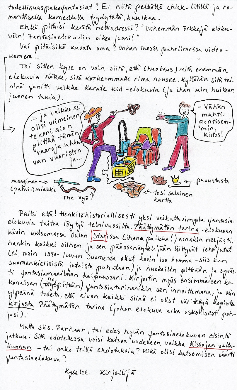 Kirje 1.2.2015 sivu 2, jossa hyvän fantasiaelokuvan määritelmän pohdinta jatkuu