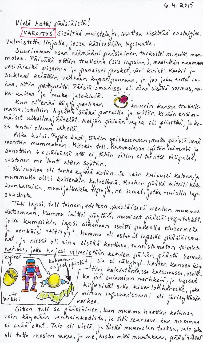Kirje 4.6.2015 sivu 1, jossa muistellaan Kirjeilijän pääsiäismuistoja mummolassa
