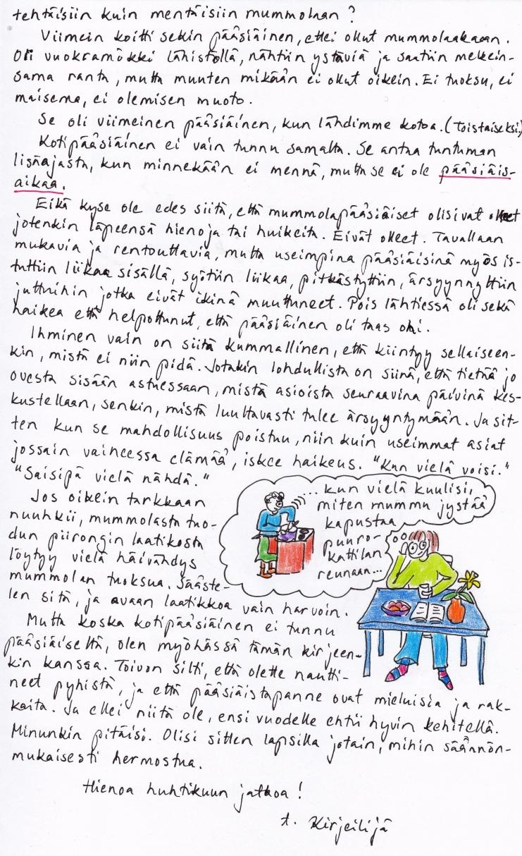 Kirje 6.4.2015 Sivu 2, jossa pohditaan sopivien juhlapyhätapojen tarpeellisuutta, jotta voisi niihin säännönmukaisesti hermostua